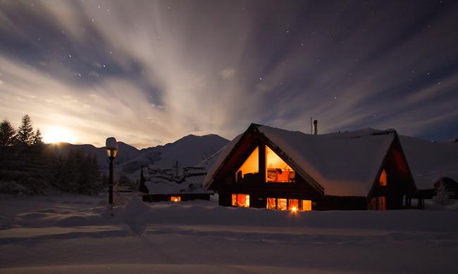 Moonrise over The Doug, Log House